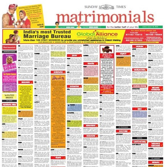 Matrimonial Ads on TImes of India