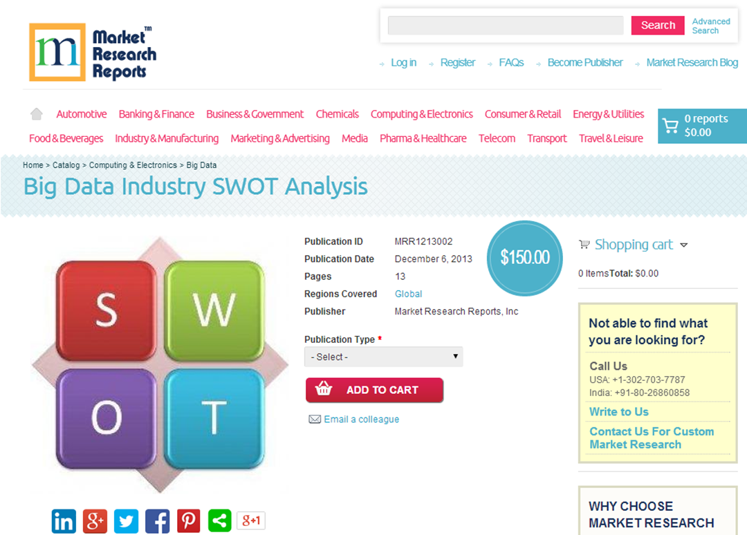 swot analysis report marketresearchreports com big data industry swot analysis new pitchengine big data industry swot analysis report highlights