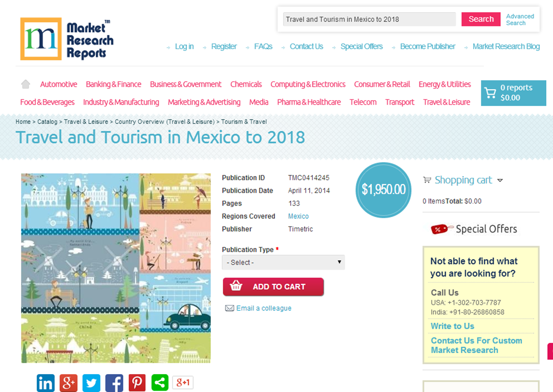 MarketResearchReports com: Travel and Tourism in Mexico to 2018, New
