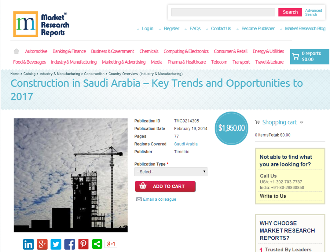 MarketResearchReports com: Construction in Saudi Arabia