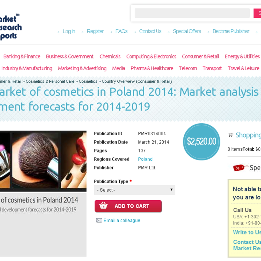 MarketResearchReports.com: Retail market of cosmetics in Poland 2014- Market analysis and development forecasts for 2014-2019, New Report Launched