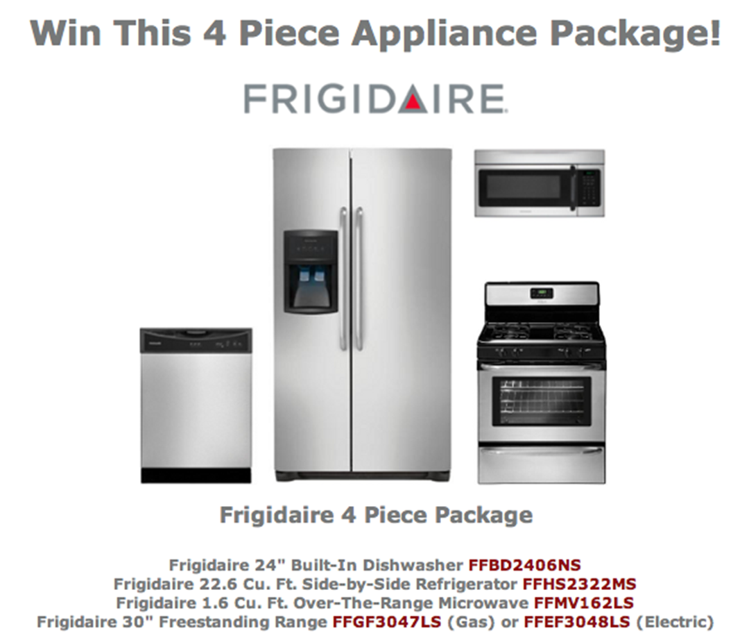 Uncategorized Win Kitchen Appliances win a 4 piece frigidaire kitchen package in mrs g tv appliances sleep centers need new contes