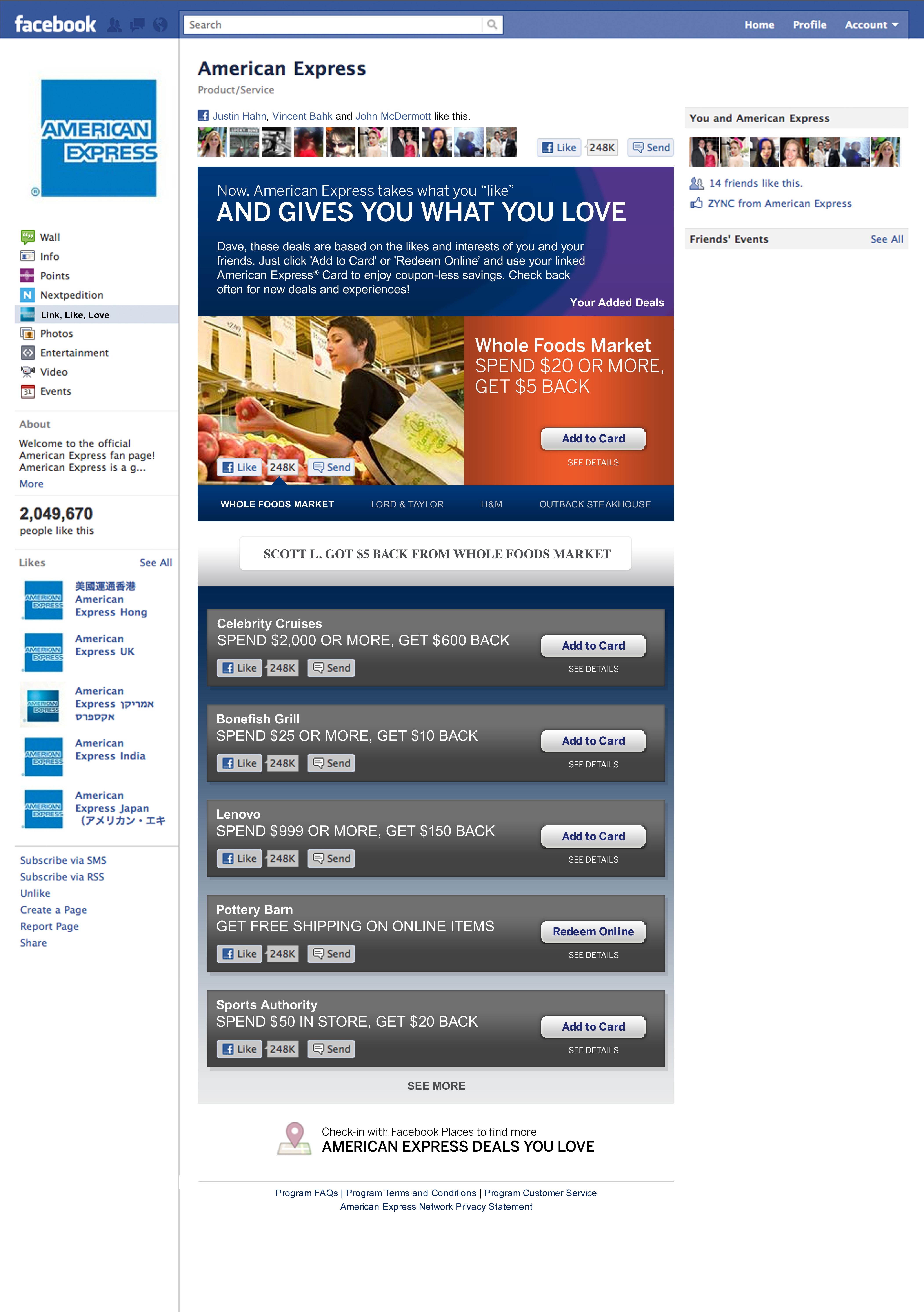 American Express Deals >> American Express Launches Link Like Love On Facebook