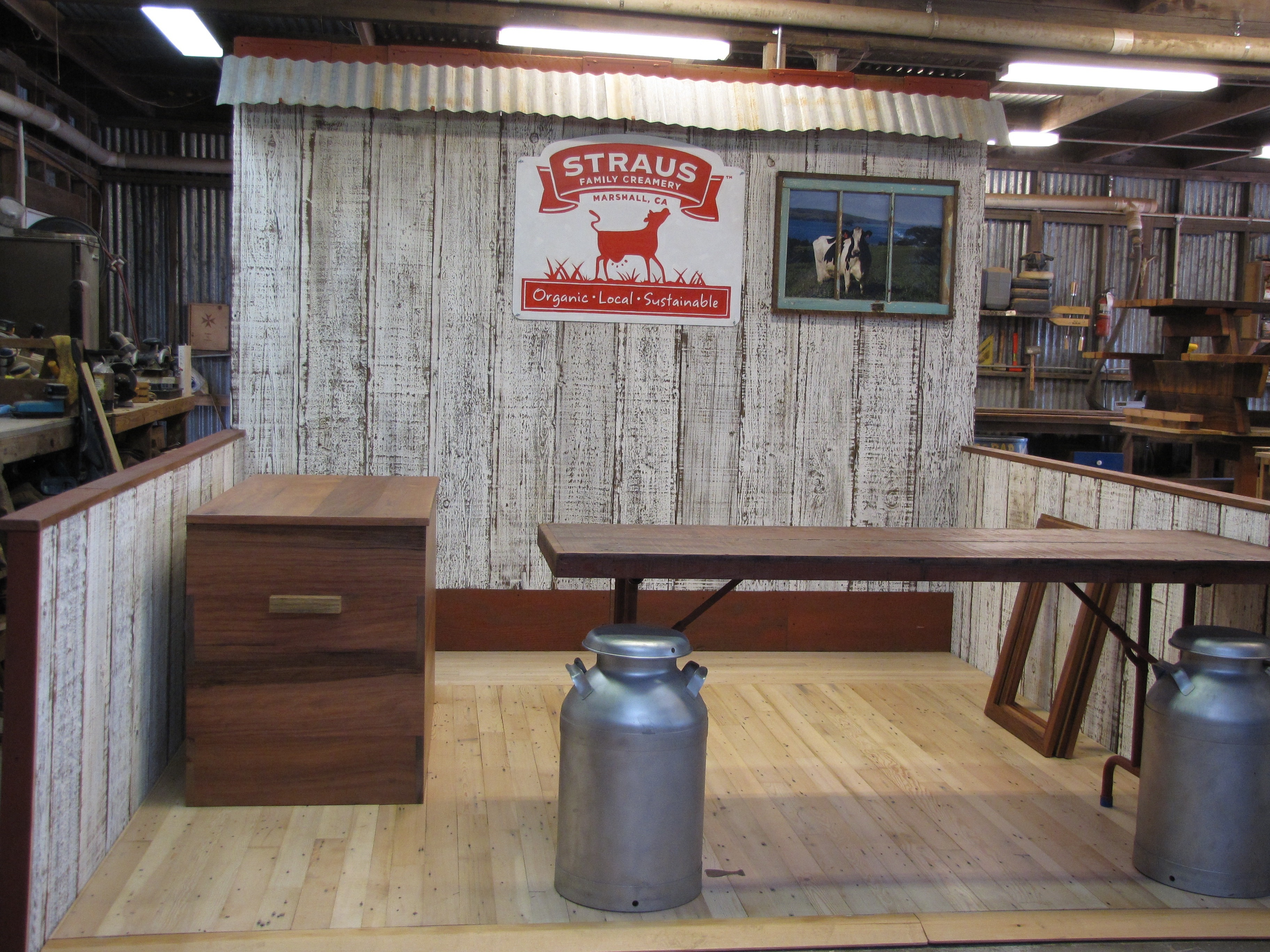 Straus family creamery creates sustainable trade booth for Local reclaimed wood