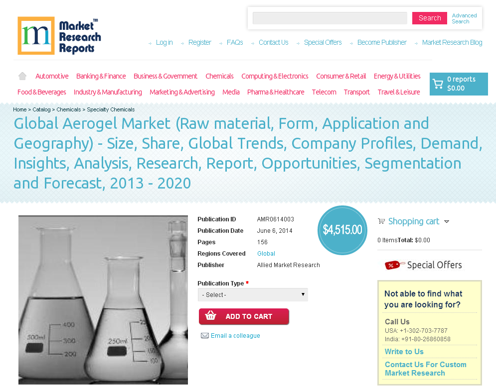 MarketResearchReports Com: Global Aerogel Market is Expected