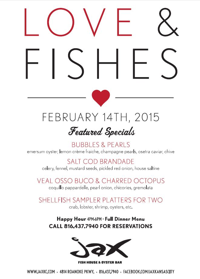 Valentine s day and mardi gras special menus featured at for Jax fish house menu